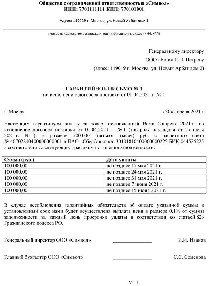 Гарантийное письмо об оплате поста