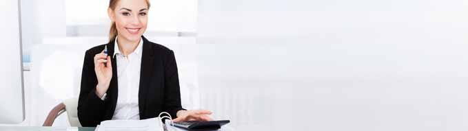 Happy Bookkeeper Woman Doing Finances And Business Accounting