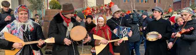 February 29, 2020, Moscow, Russia, MASLENITSA festival. Russian folklore, musicians play musical instruments and sing.